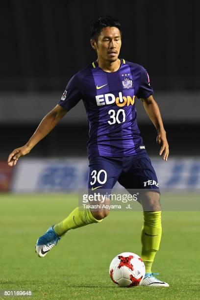 Kosei Shibasaki of Sanfrecce Hiroshima in action during the JLeague J1 match between Sanfrecce Hiroshima and Omiya Ardija at Edion Stadium on June 25...