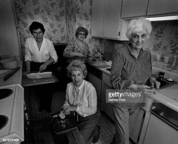 Koshef Foods left to right Jean Olshansky multi colored sweeter Ida Goldberger wife of Rabbi Goldberger Lil Speyer White hair Dorothea Flax white...