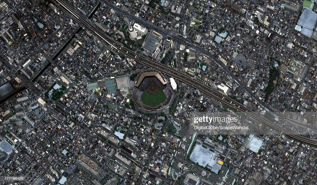 STADIUM, KOSHIEN, JAPAN - AUGUST 22, 2013: Koshien Baseball Stadium captured by a DigitalGlobe Satellite approximately one hour before the finals for the High School Baseball Championship.