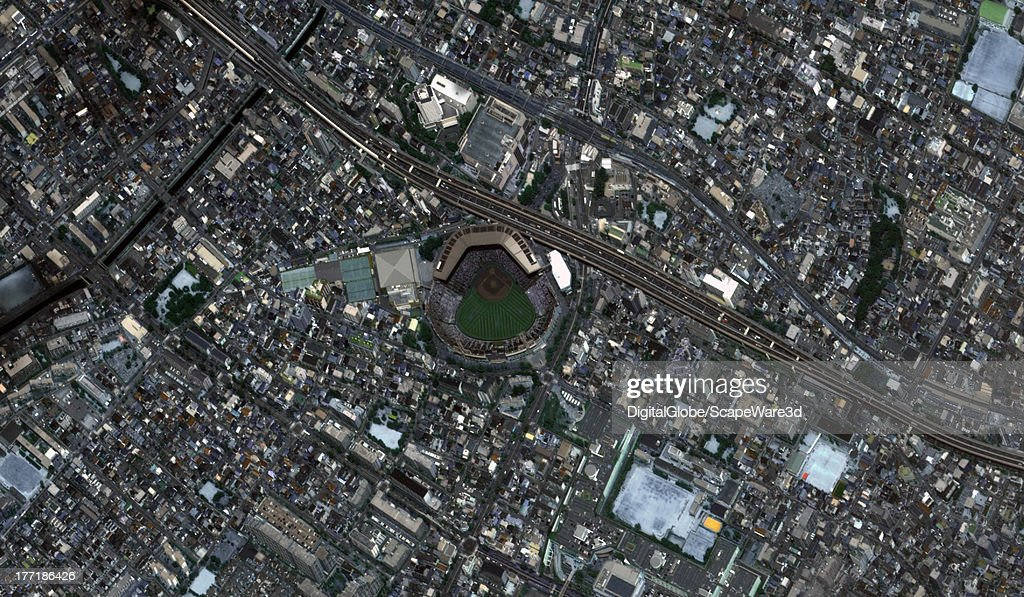 STADIUM KOSHIEN JAPAN AUGUST 22 2013 Koshien Baseball Stadium captured by a DigitalGlobe Satellite approximately one hour before the finals for the...