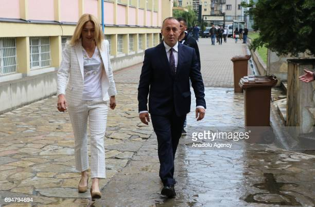 Kosovan Prime Minister candidate Ramush Haradinaj arrives to cast his vote at a polling station during a snap parliamentary contest after the...