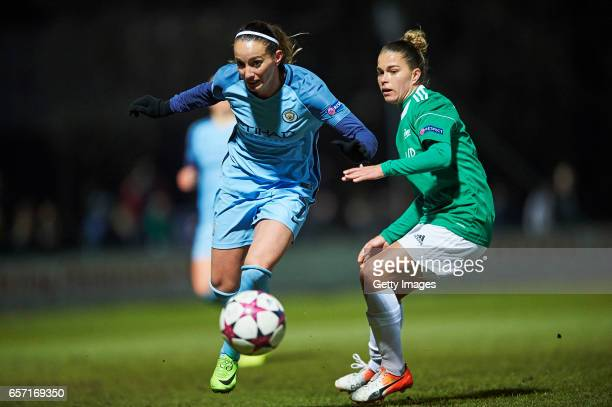 Kosovare Asllani of Manchester City and Tamires of Fortuna Hjorring compete for the ball during the UEFA Women's Champions League match between...