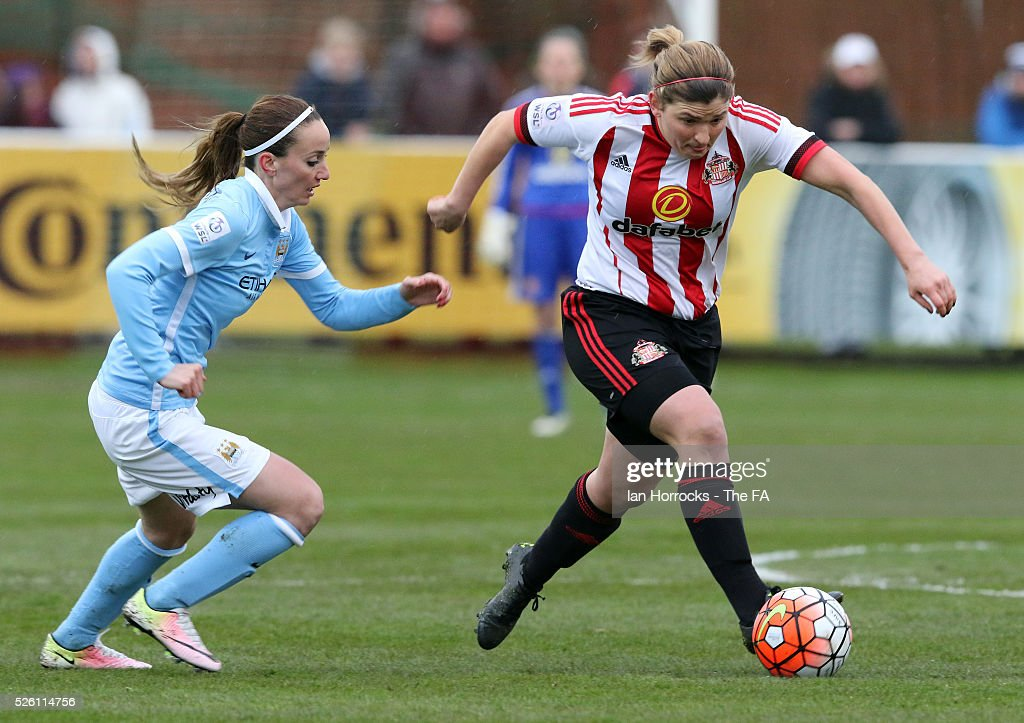 <a gi-track='captionPersonalityLinkClicked' href=/galleries/search?phrase=Kosovare+Asllani&family=editorial&specificpeople=6176342 ng-click='$event.stopPropagation()'>Kosovare Asllani</a> of Manchester City (L) chases down Abby Holmes of Sunderland during the WSL 1 match between Sunderland AFC Ladies and Manchester City Women at The Hetton Center on April 29, 2016 in Hetton, England.