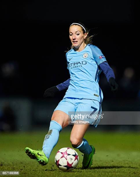 Kosovare Asllani of Manchester City in action during the UEFA Women's Champions League match between Fortuna Hjorring and Manchester City at Bredband...