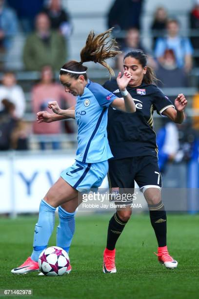 Kosovare Asllani of Manchester City Women and Amel Majri of Olympique Lyonnais during the UEFA Women's Champions League semi final first leg match...