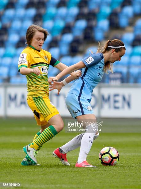 Kosovare Asllani of Manchester City Women and Ellie Curson of Yeovil Town Ladies in action during the WSL Spring Series Match between Manchester City...