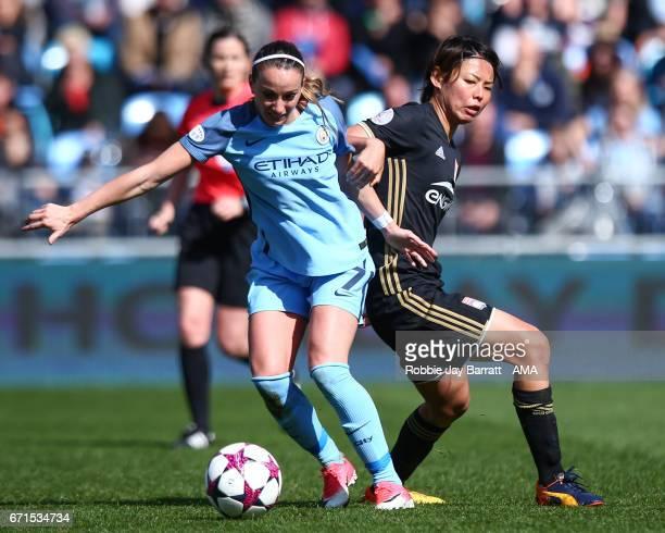 Kosovare Asllani of Manchester City Women and Saki Kumagai of Olympique Lyonnais of Olympique Lyonnais during the UEFA Women's Champions League semi...