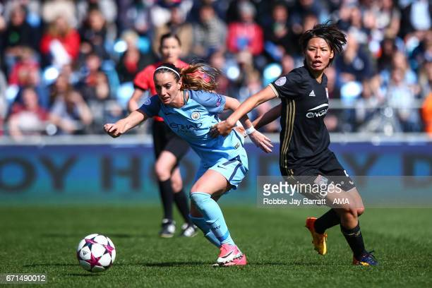 Kosovare Asllani of Manchester City Women and Saki Kumagai of Olympique Lyonnais during the UEFA Women's Champions League semi final first leg match...