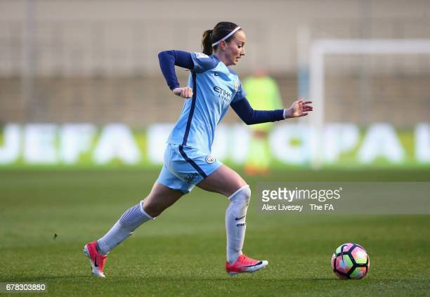 Kosovare Asllani of Manchester City Women runs with the ball during the WSL 1 match between Manchester City Women and Birmingham City Ladies at City...