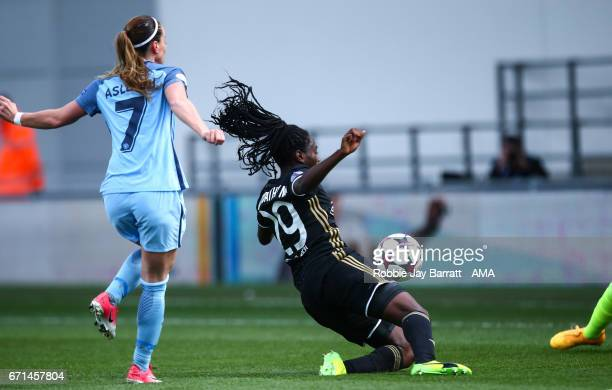 Kosovare Asllani of Manchester City Women scores a goal to make it 11 during the UEFA Women's Champions League semi final first leg match between...