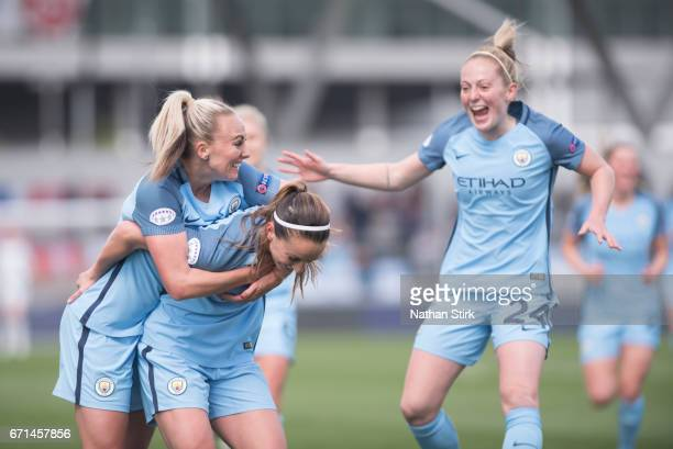 Kosovare Asllani of Manchester City Womens celebrates after scoreing the equaliser during the UEFA Women's Champions League semi final match between...