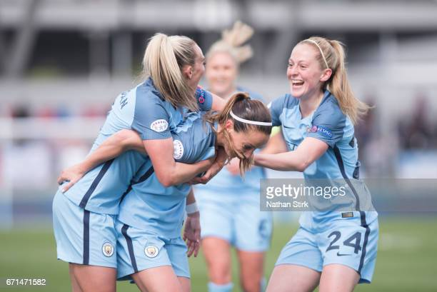 Kosovare Asllani of Manchester City Womens celebrates with Toni Duggan and Keira Walsh and after scoring during the UEFA Women's Champions League...