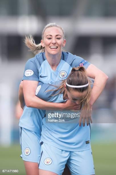 Kosovare Asllani of Manchester City Womens celebrates with Toni Duggan after scoring during the UEFA Women's Champions League semi final match...