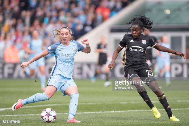 Kosovare Asllani of Manchester City Womens scores the equaliser during the UEFA Women's Champions League semi final match between Manchester City...