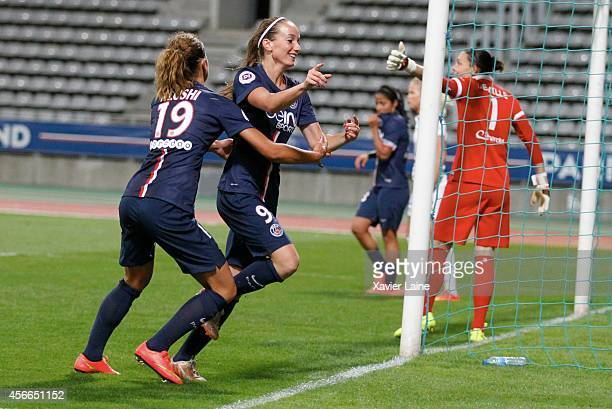 Kosovare Asllani of Paris SaintGermain celebrates his goal with Fatmire Alushi during the Women Division 1 between Paris SaintGermain FC and FCF...