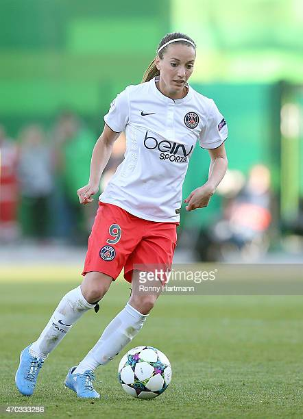 Kosovare Asllani of Paris SaintGermain runs with the ball during the first UEFA Women's Champions League semi final match between VfL Wolfsburg and...