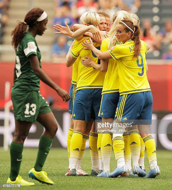 Kosovare Asllani of Sweden celebrates the first goal during the FIFA Women's World Cup Canada 2015 Group D match between Sweden and Nigeria at...