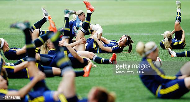 Kosovare Asllani of Sweden in action during Sweden training at Winnipeg Stadium on June 7 2015 in Winnipeg Canada