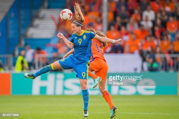 Kosovare Asllani of Sweden women Danielle van de Donk of Holland Women during the UEFA WEURO 2017 quarter finale match between The Netherlands and...
