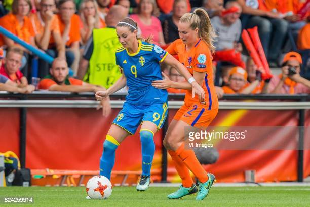 Kosovare Asllani of Sweden women Desiree van Lunteren of Holland Women during the UEFA WEURO 2017 quarter finale match between The Netherlands and...