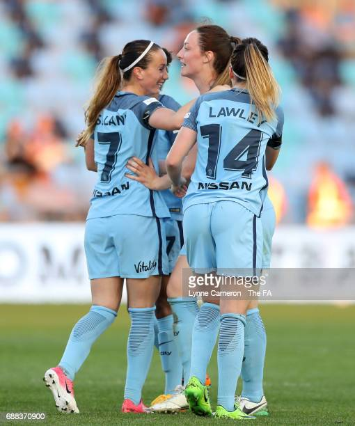 Kosovaren Asllani and Melissa Lawley celebrate with Megan Campbell of Manchester City Women during the WSL Spring Series match between Manchester...