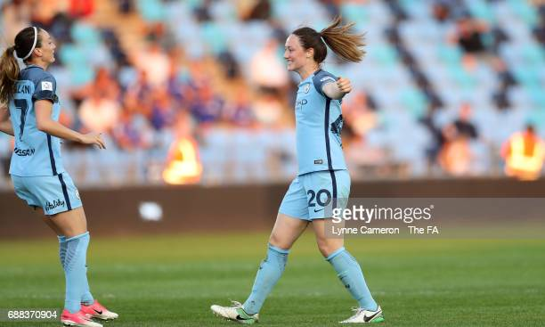 Kosovaren Asllani celebrates with Megan Campbell of Manchester City Women during the WSL Spring Series match between Manchester City Women and...
