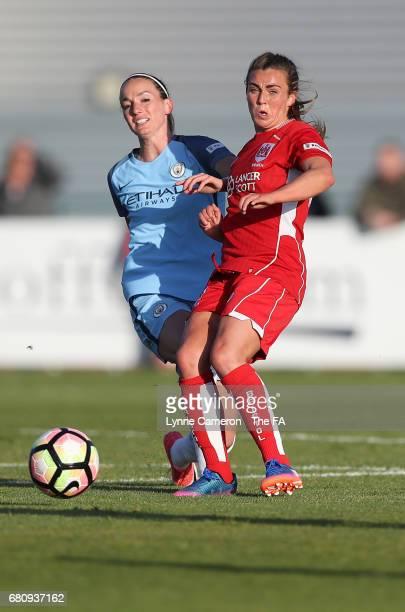 Kosovaren Asllani of Manchester City Women and Flo Allen of Bristol City Women during the WSL 1 match between Bristol City Women and Manchester City...