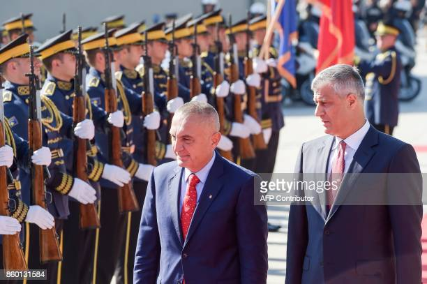 Kosovo President Hashim Thaci and his Albanian counterpart Ilir Meta review Kosovo's Security Force honour guard during a welcoming ceremony in...