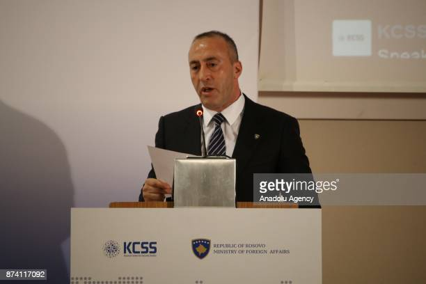 Kosovo Prime Minister Ramush Haradinaj delivers a speech during a conference under the title of ''NATO and Western Balkans Regional Dynamics in the...