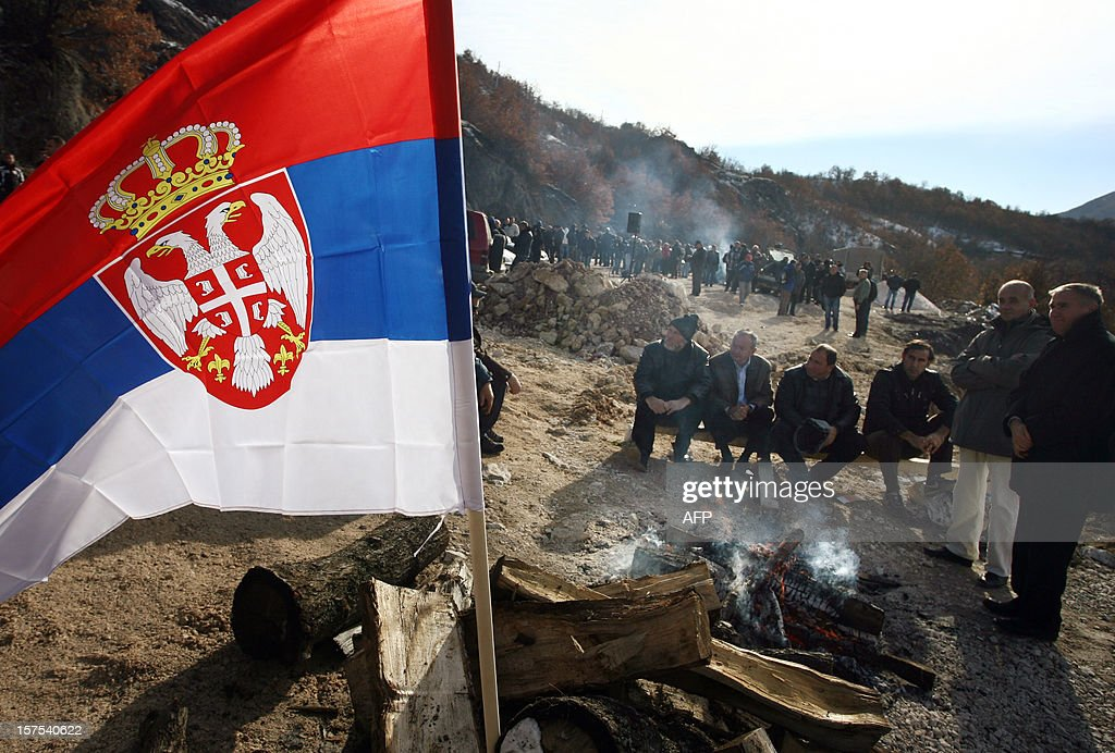 Kosovo Serbs attend a protest near Serbia-Kosovo border crossing of Jarinje on December 4, 2012. Kosovo Serbs protested against the construction of border crossings between Serbia and Kosovo before leaders from the two countries met to hammer out details of a European Union-brokered plan on border management.