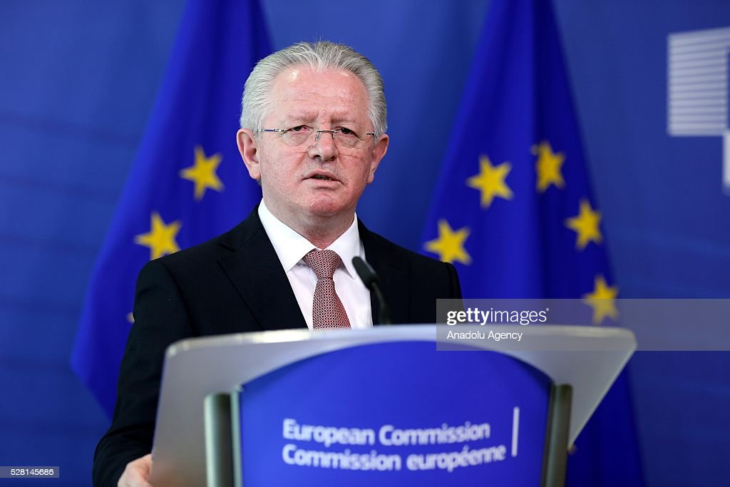 Kosovon Interior Minister Skender Hyseni speaks at a joint press briefing with EU Commissioner for Migration and Home Affairs Dimitris Avramopoulos (not seen) in Brussels, Belgium on May 4, 2016.