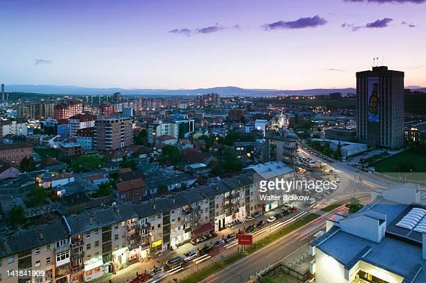 KOSOVO-Prishtina: Overview of Garibaldi Street / Evening