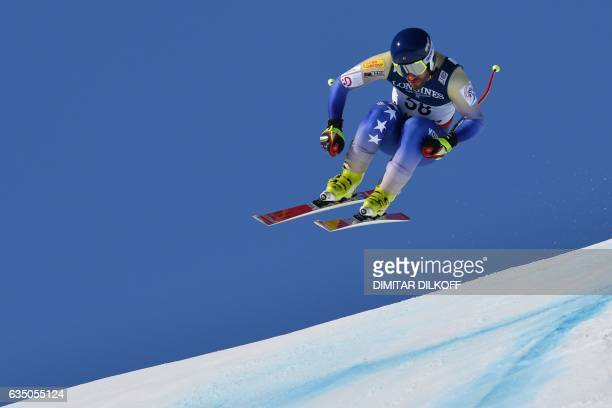 Kosovo's Albin Tahiri competes in the downhill race of the men's Alpine Combined event at the 2017 FIS Alpine World Ski Championships in St Moritz on...