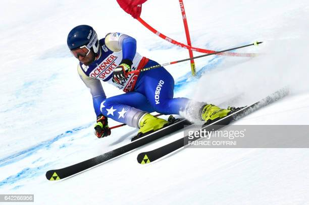 Kosovo's Albin Tahiri competes in the first run of the men's giant slalom race at the 2017 FIS Alpine World Ski Championships in St Moritz on...