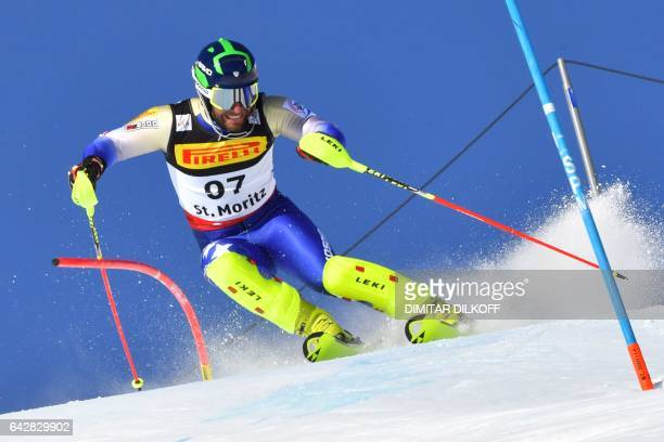 Kosovo's Albin Tahiri competes in the first run of the men's slalom race at the 2017 FIS Alpine World Ski Championships in St Moritz on February 19...