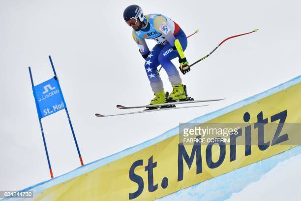 Kosovo's Albin Tahiri competes in the men's SuperG race at the 2017 FIS Alpine World Ski Championships in St Moritz on February 8 2017 / AFP /...