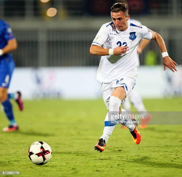 Kosovo's Bernard Berisha controls the ball during the World Cup 2018 qualifier football match between Kosovo and Croatia in Loro Borici stadium in...