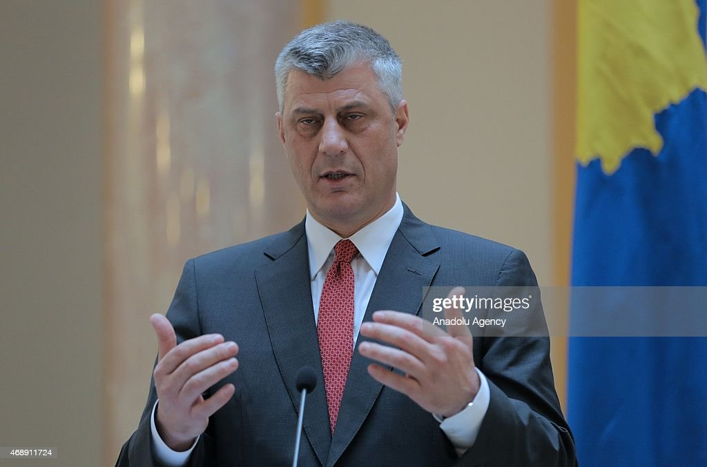 Kosovo's Deputy Prime Minister and Foreign Minister <a gi-track='captionPersonalityLinkClicked' href=/galleries/search?phrase=Hashim+Thaci&family=editorial&specificpeople=781147 ng-click='$event.stopPropagation()'>Hashim Thaci</a> delivers a speech during a joint press conference with his Croatian counterpart Vesna Pusic in Zagreb, Croatia on April 8, 2015.