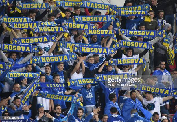 Kosovo's fans cheer prior to the FIFA World Cup 2018 qualification football match between Kosovo and Iceland at Loro Borici stadium in the city of...
