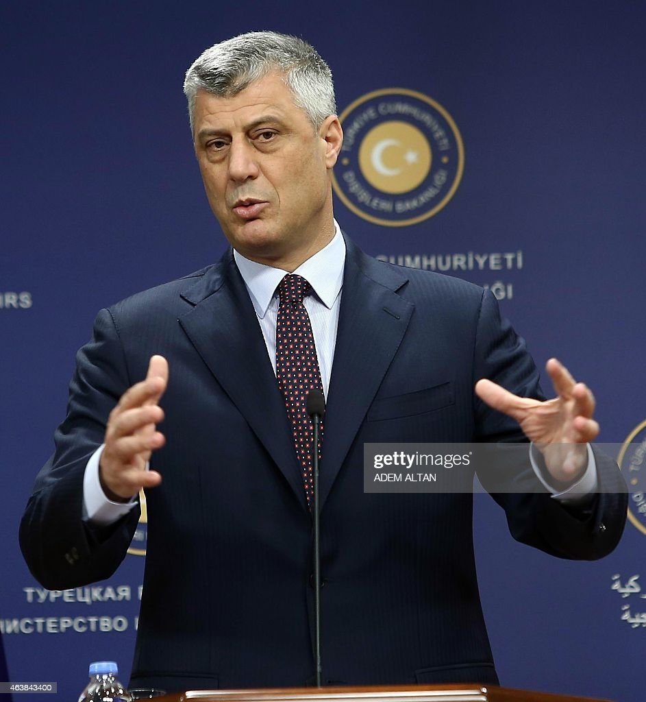 Kosovo's Foreign Minister <a gi-track='captionPersonalityLinkClicked' href=/galleries/search?phrase=Hashim+Thaci&family=editorial&specificpeople=781147 ng-click='$event.stopPropagation()'>Hashim Thaci</a> gives press conference with his Turkish counterpart at the Foreign Affairs Ministry in Ankara on February 19, 2015.