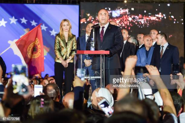 Kosovo's former Prime Minister Ramush Haradinaj addresses his supporters upon his arrival in Pristina on April 27 2017 A French court on Thursday...