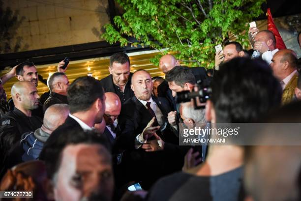 Kosovo's former Prime Minister Ramush Haradinaj is greeted by his supporters upon his arrival in Pristina on April 27 2017 A French court on Thursday...