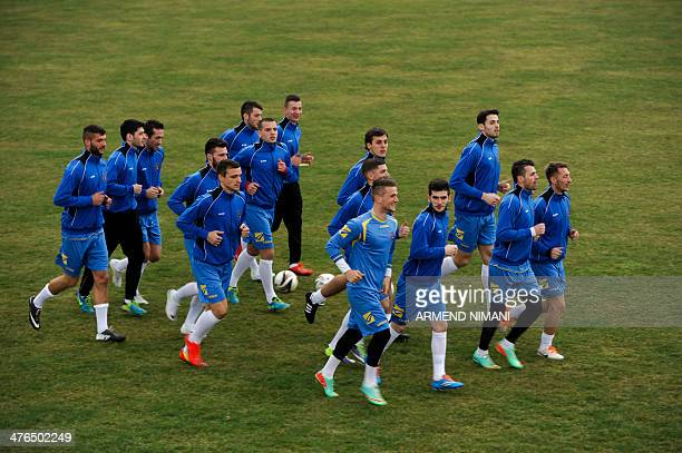 Kosovo's national football team players attend a training session in Obilic on March 3 two days ahead of their first international friendly match...