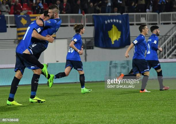 Kosovo's players celebrate after scoring a goal during the FIFA World Cup 2018 qualification football match between Kosovo and Iceland at Loro Borici...