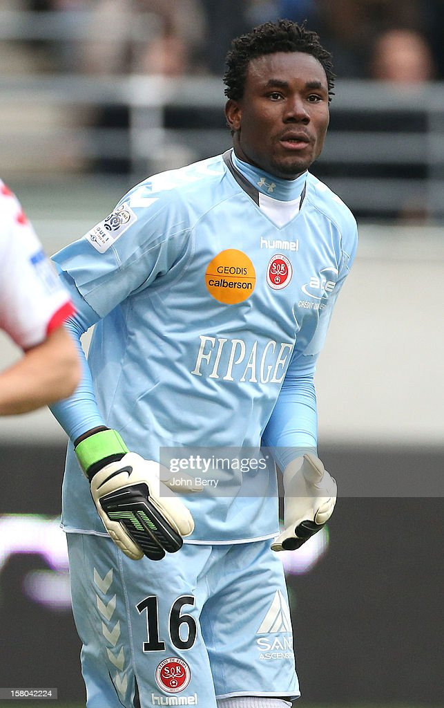 Kossi Agassa, goalkeeper of Reims in action during the French Ligue 1 match between Stade de Reims and Girondins de Bordeaux at the Stade Auguste Delaune on December 9, 2012 in Reims, France.