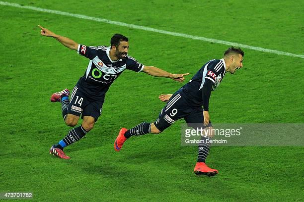 Kosta Barbarouses of Melbourne Victory celebrates his goal during the 2015 ALeague Grand Final match between the Melbourne Victory and Sydney FC at...