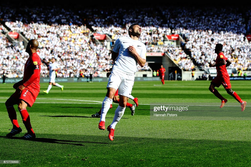 Kosta Barbarouses of the All Whites reacts after missing a goal during the 2018 FIFA World Cup Qualifier match between the New Zealand All Whites and Peru at Westpac Stadium on November 11, 2017 in Wellington, New Zealand.