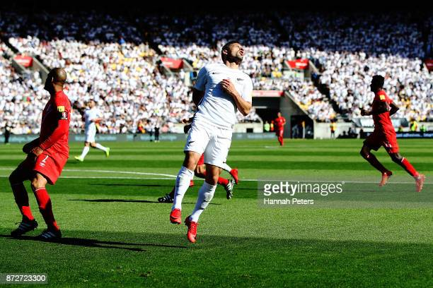 Kosta Barbarouses of the All Whites reacts after missing a goal during the 2018 FIFA World Cup Qualifier match between the New Zealand All Whites and...