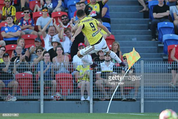 Kosta Barbarouses of the Phoenix celebrates a goal during the round 12 ALeague match between the Newcastle Jets and the Wellington Phoenix at...