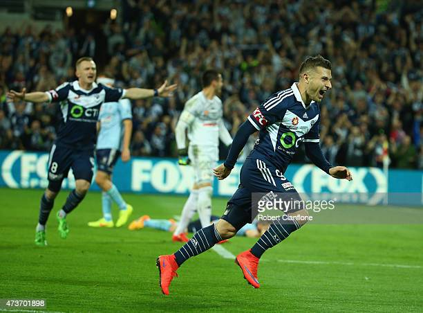 Kosta Barbarouses of the Victory celebrates after scoring a goal during the 2015 ALeague Grand Final match between the Melbourne Victory and Sydney...